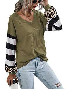 LilyCoco Women V Neck Leopard Print Shirt Striped Lantern Sleeve Waffle Knit Pullover Tops ArmyGreen S