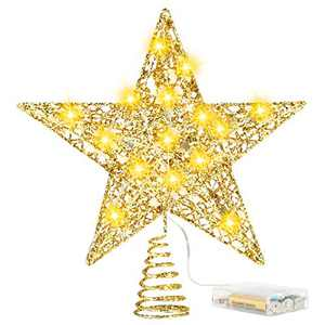 FAMKIT Christmas Tree Topper Lighted with LED Snowflake Projector Light, 8in Hollow-Out Glitter Tree Top Star with String Lights Xmas Tree Decoration