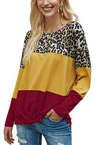 LilyCoco Womens Leopard Print Color Block T-Shirt Twist Knot Long Sleeve Pullover Tunics Tops Red XL