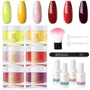 RSTYLE Dip Powder Nail Kit Starter, Dipping Powder Nail Kit 6 Dip Powder Colors with Dip Powder System Essential Kit No UV/LED Lamp Needed for French Manicure Nail Art Set