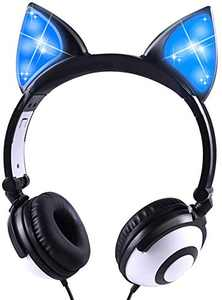 Kids Fox Ear Headphones LED Light Up Earphone Wired Adjustable Kids Headband Earphone Foldable Over On Ear Game Headset for iPad Tablet Home School (Black)