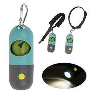 KINTEN Dog Poop Bag Dispenser, Poop Bag Holder with LED Flashlight for Leash, Pet Waste Bag Distributor, Carabiner Fastener Included, 1 Pack