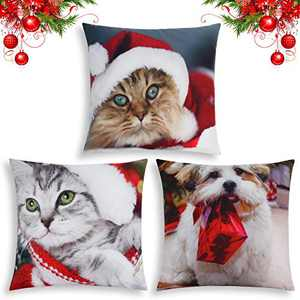 "APEPAL 18""x18"" Christmas Pillow Covers, Christmas Decorative Couch Pillow Cases Cotton, Pillow Case for Sofa Couch Pillow Square Cushion Cover (3 Pillow Covers)"