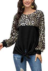 LilyCoco Women Leopard Print Shirt Tie Knot Tunics Long Sleeve Round Neck Pullover Tops Black XL