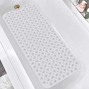 "DEXI Original Bath Tub Shower Mat, Non-Slip Bathtub Mats with Suction Cups, Drain Holes, Machine Washable Bathroom Mat, Clera, 16"" x 39"""
