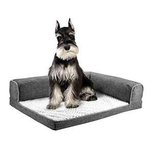 """DEKOHM Orthopedic Dog Bed, L-Shaped Chaise Lounge, Fluffy Plush Mattress for Joint Relief, Pet Sofa Couch for Cats and Dogs with Removable & Washable Cover, Medium Size 26"""" x 20"""" x 7"""", Grey"""