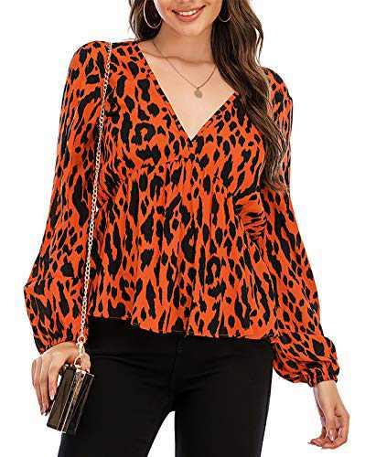 Avanova Women's Leopard Print Long Sleeve V Neck Ruffle Pleated Blouse Shirt Top Orange Large