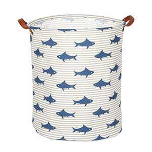 Bestip Large Laundry Basket, Large Storage Basket, Waterproof Laundry Hamper, Foldable Clothes Hamper, Collapsible Laundry Baskets. Organizer Basket, Perfect for Dirty Clothes and Toys. (Blue Fish)