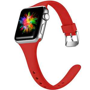 DGege Slim Watch Bands Compatible with Apple Watch 42mm 44mm, Silicone Thinner Bands for iwatch Series 6, 5,4,3,2,1 SE, Red, M/L