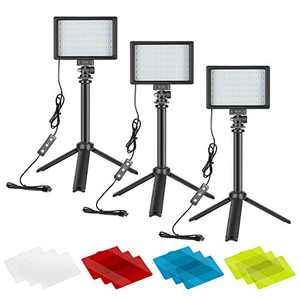 Neewer Video Conference Light Kit, 3-Pack Dimmable 5600K USB LED Video Lights with Desktop Tripod Stand and Color Filters for Zoom Calls, Remote Working, YouTube, Live Streaming, Gaming