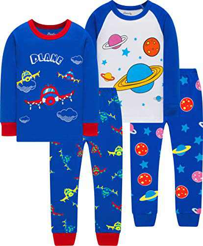 Little Boys Colors Airplane Pajamas Christmas Children Space Pjs Kids Cotton School Sleepwear Size 2