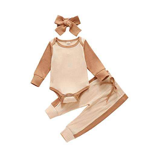 Baby Boy Girl Fall Winter Clothes Set Long Sleeve Color Edge Romper Bodysuit+Pants Ribbed 3 Piece Solid Outfits Khaki