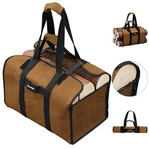 AAGUT Firewood Bag Fireplace Log Carrier Holders Heavy Duty Tote Bag for Large Wood Adjustable Brown…