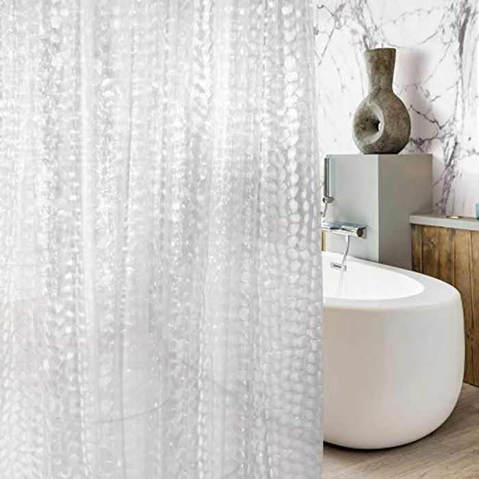 MeeQee Waterproof Shower Curtain with 12 Curtain Hooks EVA 3D Semi Shower Curtain Liner Mould and Mildew Resistant Bathroom Curtains 180 x 200cm Clear