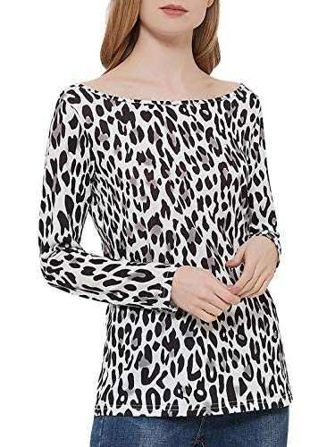 Anna-Kac Women's Crewneck Leopard Prin Shirt Long Sleeve Stretchy Blouse, White, Small