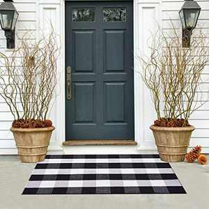 """wartleves Buffalo Plaid Check Rug 27.5""""x43"""" Woven Indoor Outdoor Area Rug for Layered Door Mats Home Entrance Front Porch Entryway Bathroom Bedroom Kitchen Farmhouse Black and White"""