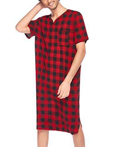 Ekouaer Men's Nightshirt Nightwear Comfy Big&Tall Short Sleeve Henley Sleep Shirt