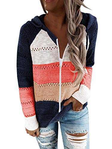 BTFBM Women Zip Up Striped Hoodies Jackets Color Block Print Long Sleeve Drawstring Stretchy Casual Pullover Sweatshirts (Stripe Dark Blue, Medium)