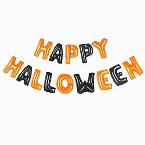 Happy Halloween Balloons Banner 16 Inch Foil Letters Inflatable Party Decor and Event Decorations