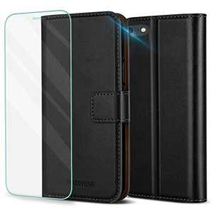 Pinzoveno iPhone SE 2020 Wallet Case, iPhone 7/8 Wallet Case, PU Leather Flip Phone Case with Card Slot and Screen Protector Kickstand Folio Cover for iPhone SE/7/8 - Black
