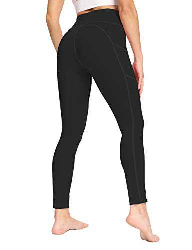 IOJBKI High Waisted Yoga Pants Tummy Control Workout Running Leggings with Pockets for Women(IU411-Black-XL)
