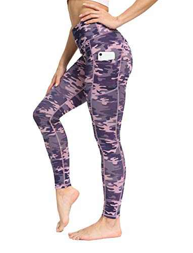 IOJBKI High Waisted Yoga Pants Tummy Control Workout Running Leggings with Pockets for Women(IU411-PinkPurple Camouflage-M)