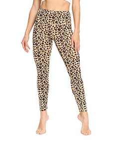 IOJBKI High Waisted Leggings for Women Yoga Pants Workout Athletic Running Leggings(CL210-Yellow Leopard-S)