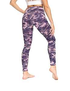 IOJBKI High Waisted Leggings for Women Yoga Pants Workout Athletic Running Leggings(CL210-PinkPurple Camouflage-XL)