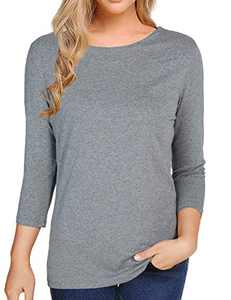 Women's 3/4 Sleeve Solid Color T-Shirt Tee Shirt Tops Slim Fit Blouses (Medium, Dark Grey)