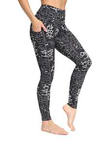 IOJBKI High Waisted Yoga Pants Tummy Control Workout Running Leggings with Pockets for Women(IU411-Deep Grey Leopard-S)