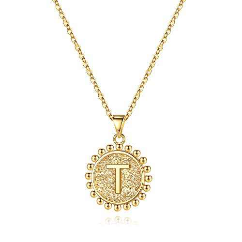 Ursteel Initial Necklaces for Women, 14K Gold Plated Dainty Disc Letter T Initial Coin Pendant Necklace Jewelry Gifts for Women Friends Birthday