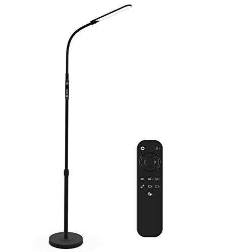 NXONE Led Floor Lamp,Modern Reading Adjustable Standing Height 4 Colors and Stepless Brightness Work Lamp for Living Room Bedroom Reading,Black