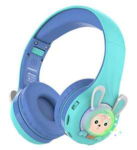 Riwbox RB-7S Rabbit Kids Headphones Wireless, LED Light Up Bluetooth Over Ear Headset Volume Limited Safe 75dB/85dB/95dB with Mic and TF-Card, Children Headphones for Girls Boys (Blue&Green)