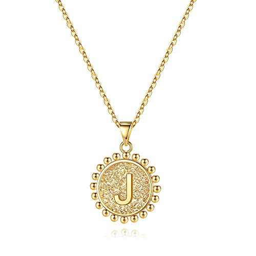 Ursteel Initial Pendant Necklaces for Women, 14K Gold Plated Dainty Circle Disc Letter J Initial Necklace Jewelry for Women Teen Daughter Mothers Day Valentines Gifts Her