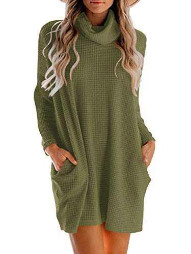WONETA Women's Long Sleeve Sweater Dress Cowl Neck Turtleneck Sweater Waffle Knit Tunic Dress with Pocket Loose Knit Tops W293-junlv-XL Army Green