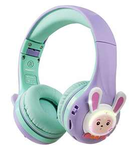 Riwbox RB-7S Rabbit Kids Headphones Wireless, LED Light Up Bluetooth Over Ear Headset Volume Limited Safe 75dB/85dB/95dB with Mic and TF-Card, Children Headphones for Girls Boys (Purple&Green)