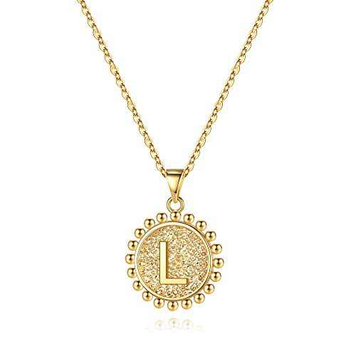 Ursteel Initial Pendant Necklaces for Women, 14K Gold Plated Dainty Heart Circle Disc Letter L Initial Necklace Jewelry for Women Teenager Mothers Day Valentines Gifts Her
