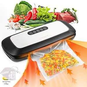 Artence Vacuum Sealer Machine, Automatic Food Sealer with 10pcs Vacuum Sealer Bags for Food Preservation, Sous Vide, Dry & Moist Food Modes |Dry & Moist Food Modes |Easy to Clean |Starter Kit (Stainless Steal)