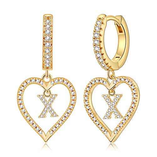 Initial Earrings for Girls Kids, S925 Sterling Sliver Post Girls Earrings 14k Gold Plated Heart Earrings Dangle Hoop Earrings Dainty Tiny Letter X Earrings for Girls Women.