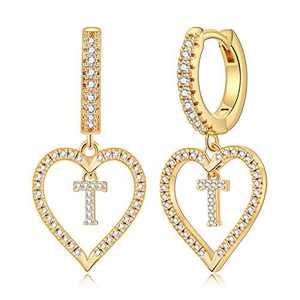 Initial Earrings for Girls Kids, S925 Sterling Sliver Post Girls Earrings 14k Gold Plated Heart Earrings Dangle Hoop Earrings Dainty Tiny Letter T Earrings for Girls Women.