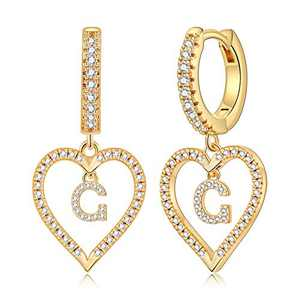 Gold Initial Earrings for Girls, S925 Sterling Sliver Post Initial Earrings 14k Gold Plated Cubic Zirconia Heart Earrings Hypoallergenic Earrings Small Letter G Earrings for Girls Women.