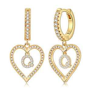 Initial Earrings for Girls Kids, 14k Gold Plated Small Letter Q Earrings Huggie hoop earrings for Girls Tiny Earrings Cubic Zirconia Hypoallergenic Earrings for Girls Women.