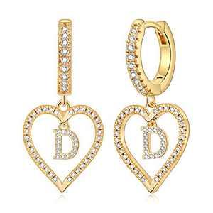 Gold Initial Earrings for Girls, S925 Sterling Sliver Post Initial Earrings 14k Gold Plated Cubic Zirconia Heart Earrings Hypoallergenic Earrings Small Letter D Earrings for Girls Women.