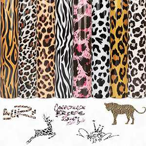 Leopard Heat Transfer Vinyl Animal Patterned HTV Bundle - 8 Pack 12 x 10 inch Iron on Vinyl 8 Assorted Colors Heat Transfer Camouflage for DIY