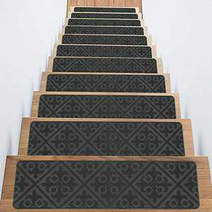 "Treadsafe Non-Slip Carpet Stair Treads, Anti Moving Grip and Beauty Rug Tread Safety for Kids Elders and Dogs, 8""30"" (Grey)"