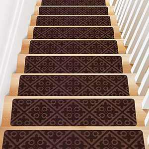 "Treadsafe Non-Slip Carpet Stair Treads, Anti Moving Grip and Beauty Rug Tread Safety for Kids Elders and Dogs, 8""30"" (Brown)"