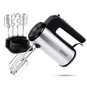 OCTAVO Electric Hand Mixer,5-Speed Powerful Turbo function Handheld Mixer with Eject Function,Storage Base,300W and 4 Metal Accessories for Whipping Mixing Cookies, Brownies, Dough Batters (sliver)
