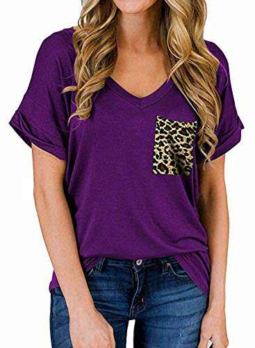 RULINJU Women's Short Sleeve T Shirts V-Neck Tunic Tops Loose Casual Tees Front Leopard Pocket (Small, B04_Purple)