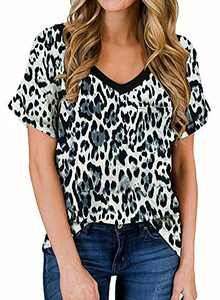 RULINJU Women's Short Sleeve T Shirts V-Neck Tunic Tops Loose Casual Tees Front Leopard Pocket (Small, C01_Leopard Black)