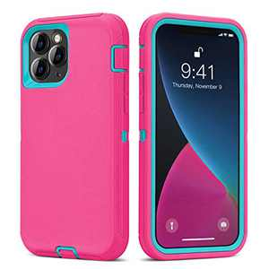Ballaber Compatible with iPhone 12 Case, Compatible with iPhone 12 Pro Case Durable Defender Shockproof Full Body Heavy Duty Protection Rugged Bumper Silicone 3 in 1 for 6.1 inch 2020(Pink Blue)